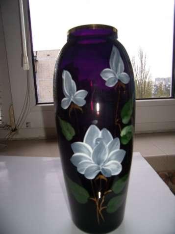 Винтажная ваза, СССР, цветное стекло, кобальт, позолота, цвет марсала - зображення 4