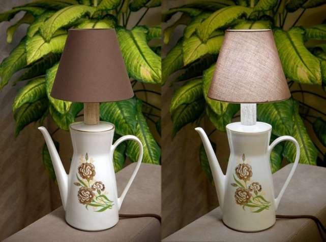 светильник настольній хенд-мейд. настольная лампа из чайника