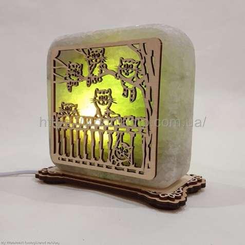Соляной светильник квадратный Коты, соляная лампа, ночник