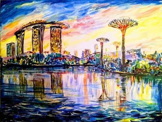 """Картина """"Сингапур"""" масло холст декор для комнаты подарок путешесвия"""