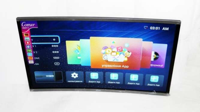 "LCD LED Телевизор Comer 32"" Изогнутый Smart TV, WiFi, 1Gb Ram, 4Gb Rom"