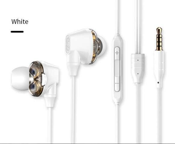Белые двойной драйвер Наушники с микрофоном Baseus Н10