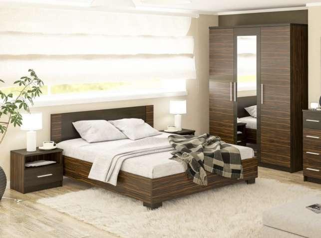 Спальня Вероника (Макасар). Кровать, шкаф, прикроватные тумбы