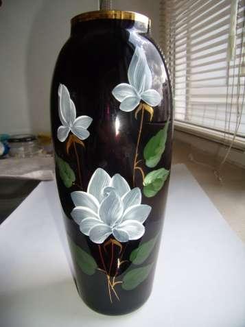 Винтажная ваза, СССР, цветное стекло, кобальт, позолота, цвет марсала