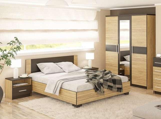 Спальня Вероника (Зебрано). Кровать, шкаф, прикроватные тумбы