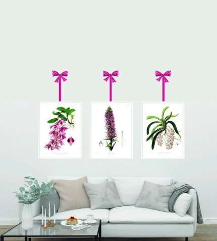 Постеры, плакаты, винтажная ботаника в рамке,  декор, орхидеи