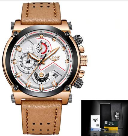 Lige 9856 кварцевые мужские часы с кожаным ремешком